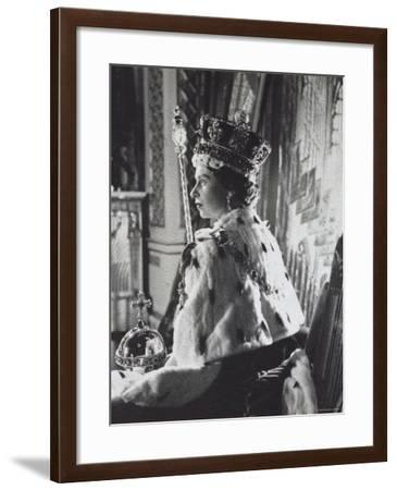 Queen Elizabeth II in Coronation Robes, England, c.1953-Cecil Beaton-Framed Photographic Print