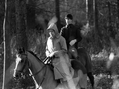 Queen Elizabeth II Out Riding with Prince Edward on New Year's Day 1980--Photographic Print