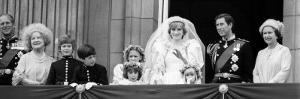 Queen Elizabeth II, Prince Philip, Prince Charles, Princess Diana on Balcony of Buckingham Palace