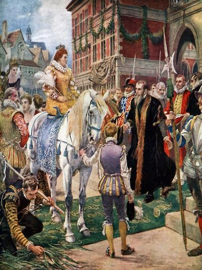 Queen Elizabeth Opening the Royal Exchange in 1570-Ernest Crofts-Giclee Print