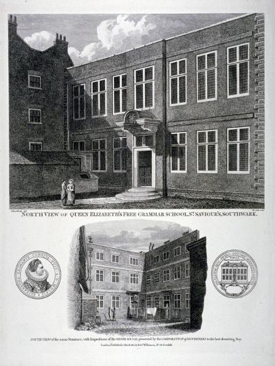 Queen Elizabeth's Free Grammar School, St Saviour's Churchyard, Southwark, London, 1815-G Howlett-Giclee Print