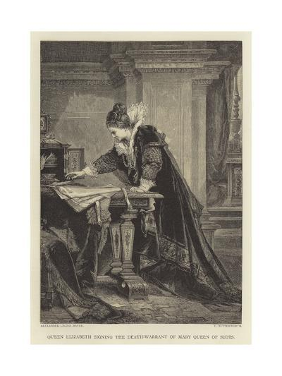 Queen Elizabeth Signing the Death-Warrant of Mary Queen of Scots--Giclee Print