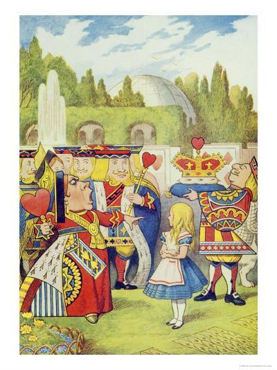 Queen Has Come! and Isn't She Angry, Illustration from Alice in Wonderland by Lewis Carroll-John Tenniel-Giclee Print