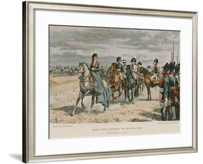 Queen Louisa Reviewing the Prussian Army-Felicien Baron De Myrbach-rheinfeld-Framed Giclee Print
