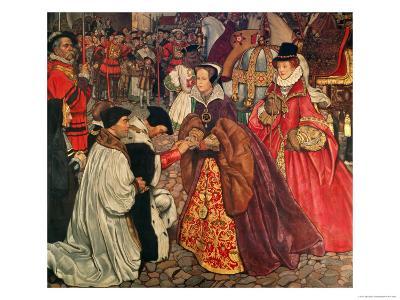 Queen Mary and Princess Elizabeth Entering London, 1553-John Byam Shaw-Giclee Print