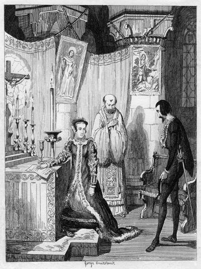Queen Mary at the Instance of Simon Renard Affiancing Herself to Philip of Spain, 1840-George Cruikshank-Giclee Print