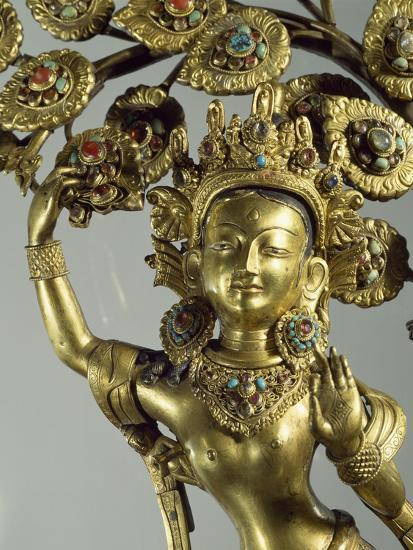 Queen Maya Gives Life to Future Buddha, Gilded Bronze Statue, Nepal, Nepalese Civilization--Giclee Print