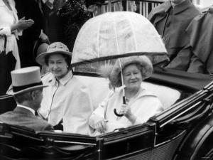 Queen Mother Riding Down the Course with the Queen in an Open Top Carriage in the Ascot Procession