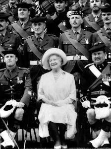 Queen Mother Sitting with Soldiers of the 1st Battalion 51st Highland Volunteers