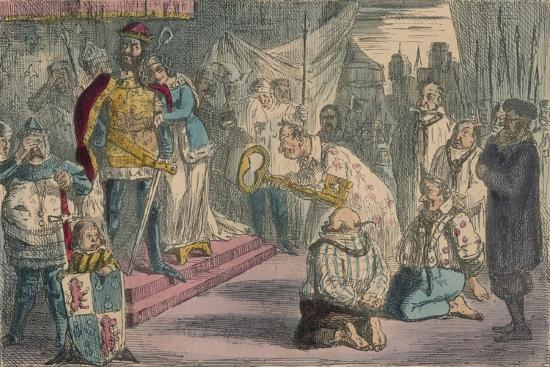 Queen Philippa Interceding with Edward III for the Six Burgesses of Calais, 1850-John Leech-Giclee Print