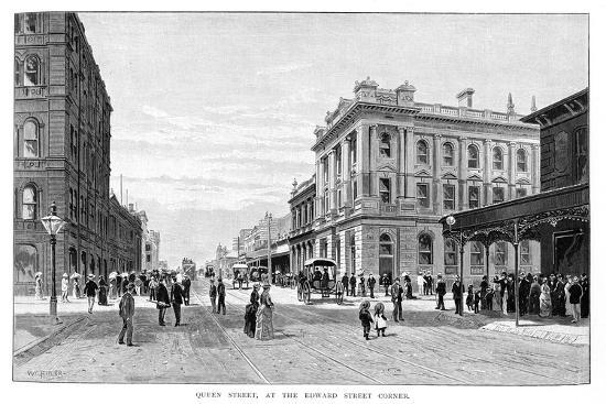 Queen Street, at the Edward Street Corner, Brisbane, 1860-WC Fitler-Giclee Print