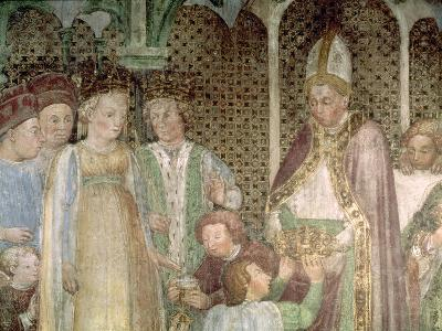 Queen Theodolinda and Pope Gregory the Great- Zavattari Family-Giclee Print