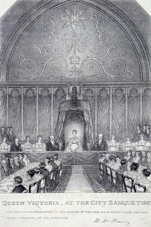 Queen Victoria at the Guildhall Banquet, London, 1837--Giclee Print