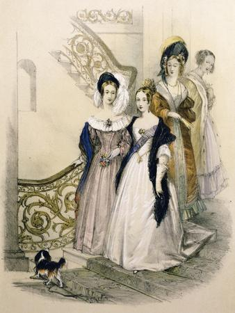 Queen Victoria on a Staircase with Ladies in Waiting