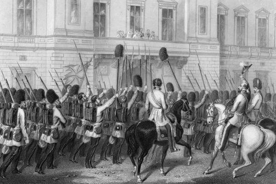Queen Victoria Receiving the Guards at Buckingham Palace, 1857-G Greatbach-Giclee Print