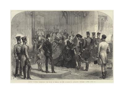 Queen Victoria Receiving the Shah of Persia at the Sovereign's Entrance, Windsor Castle, 20 June-Arthur Hopkins-Giclee Print