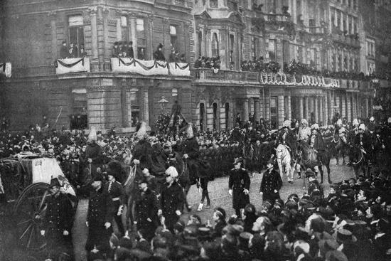 Queen Victoria's funeral procession passing through London, 1901. Artist: Unknown-Unknown-Photographic Print