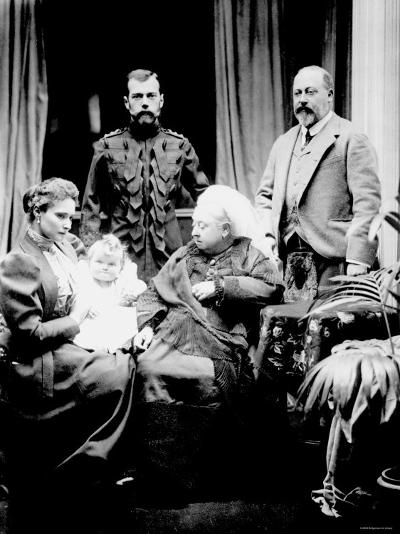 Queen Victoria, Tsar Nicholas II, His Wife and Daughter and Albert, Prince of Wales, Balmoral, 1896--Photographic Print