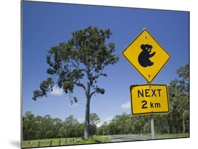 Queensland, Fraser Coast, Maryborough, Koala Crossing Sign on the Bruce Highway, Australia-Walter Bibikow-Mounted Photographic Print
