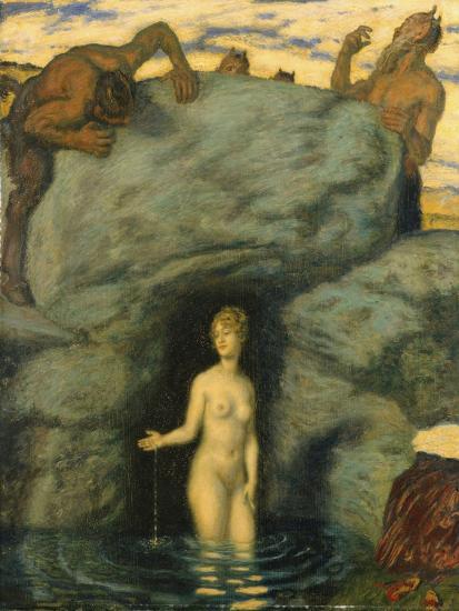 Quellnymphe von Faunen belauscht. 1911-Franz von Stuck-Giclee Print