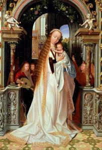 Virgin and Child with Three Angels, Central Panel of a Triptych, circa 1509 by Quentin Metsys