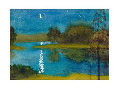 Quiet Moonlit Night-Marina-Art Print
