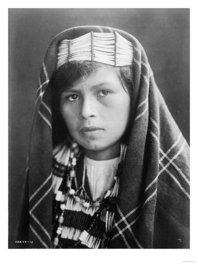 Quinault female Indian Portrait Curtis Photograph-Lantern Press-Art Print