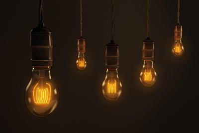 Quintet of Vintage Light Bulbs-chianim8r-Art Print