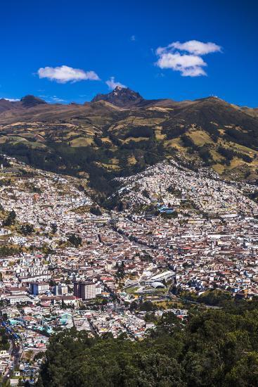 Quito, with Pichincha Volcano in the Background, Ecuador, South America-Matthew Williams-Ellis-Photographic Print