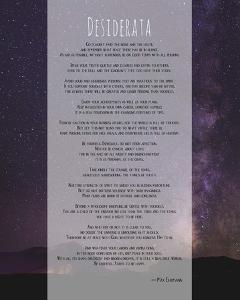 Desiderata Night Sky by Quote Master