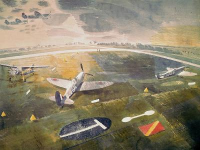 R.A.F. Planes on an Airfield-Eric Ravilious-Giclee Print