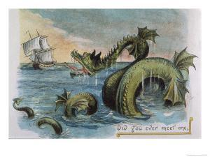 Sea Monster Looks at a Sailing Ship by R. Andre