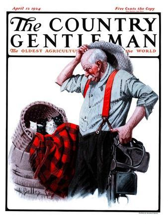 """""""Basket of Kittens in the Barn,"""" Country Gentleman Cover, April 12, 1924"""