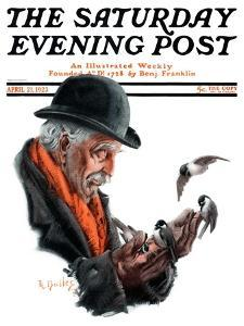 """Man Feeding Birds,"" Saturday Evening Post Cover, April 21, 1923 by R. Bolles"