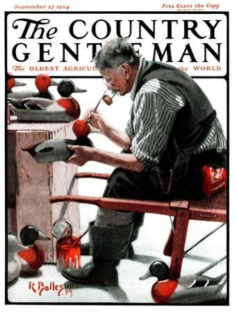 """""""Painting Decoys,"""" Country Gentleman Cover, September 27, 1924 by R^ Bolles"""