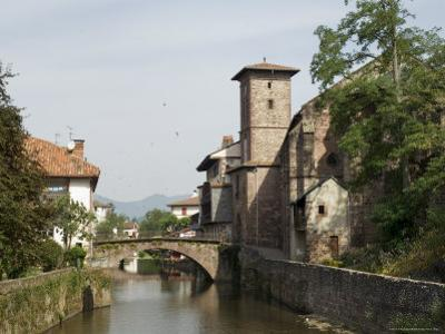 Church of Our Lady on Right of Old Bridge, St. Jean Pied De Port, Basque Country, Aquitaine by R H Productions