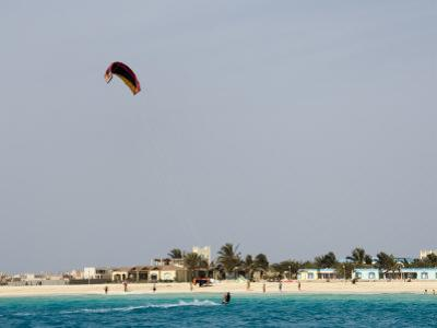 Kite Surfing at Santa Maria on the Island of Sal (Salt), Cape Verde Islands, Africa by R H Productions