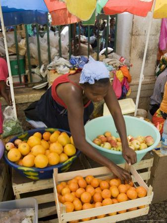 The African Market in the Old City of Praia on the Plateau, Praia, Santiago, Cape Verde Islands by R H Productions