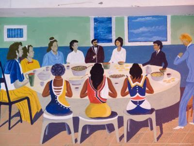 Wall Paintings in Restaurant at Calhau, Sao Vicente, Cape Verde Islands, Africa by R H Productions