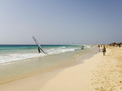 Wind Surfing at Santa Maria on the Island of Sal (Salt), Cape Verde Islands, Africa by R H Productions
