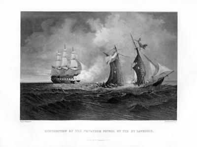 Destruction of the Privateer 'Petrel' by the 'St Lawrence, 28 July 1861, (1862-186) by R Hinshelwood