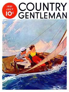 """""""Couple Sailing,"""" Country Gentleman Cover, July 1, 1937 by R.J. Cavaliere"""