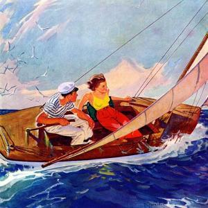 """""""Couple Sailing,""""July 1, 1937 by R.J. Cavaliere"""