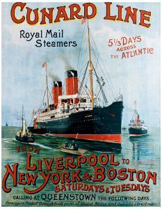 Cunard Line, Liverpool to New York by R^m Neville Cumming