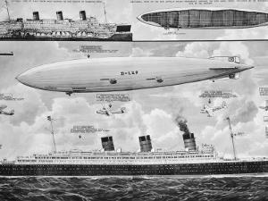 R.M.S. 'Queen Mary', 'Hindenburg' and 'Big Ben', 1936