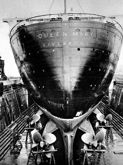 R.M.S. 'Queen Mary' in Dry Dock, Southampton, April 1936--Photographic Print