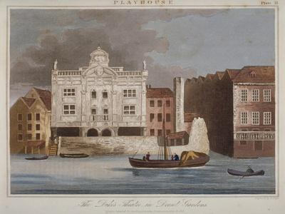 The Duke's Theatre, Dorset Gardens, from the River Thames, City of London, 1825