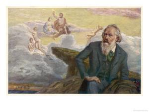 Johannes Brahms German Musician Composing His Symphony No. 1 by R. Ronopa