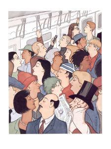 Subway riders all resemble Eustace Tilley - New Yorker Cartoon by R. Sikoryak