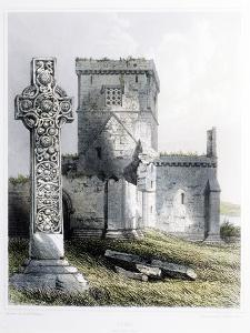 St. Martin's Cross and Iona Cathedral by R. W. Billings